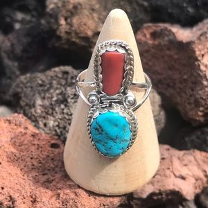 Navajo Sterling Turquoise Natural Coral Ring